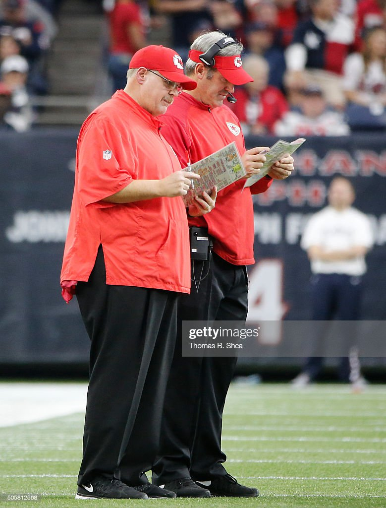 Head coach Andy Reid of the Kansas City Chiefs coaches on the sidelines during the first half of the AFC Wild Card Playoff game against the Houston...