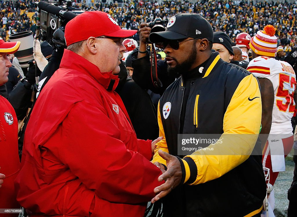 Head coach Andy Reid of the Kansas City Chiefs congratulates head coach Mike Tomlin of the Pittsburgh Steelers after Pittsburgh's 2012 win at Heinz...
