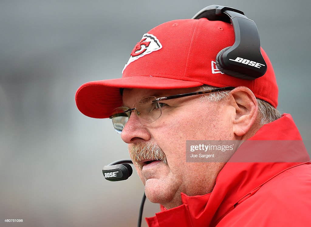 Head coach Andy Reid of the Kansas City Chiefs looks on during the first quarter against the Pittsburgh Steelers at Heinz Field on December 21 2014...