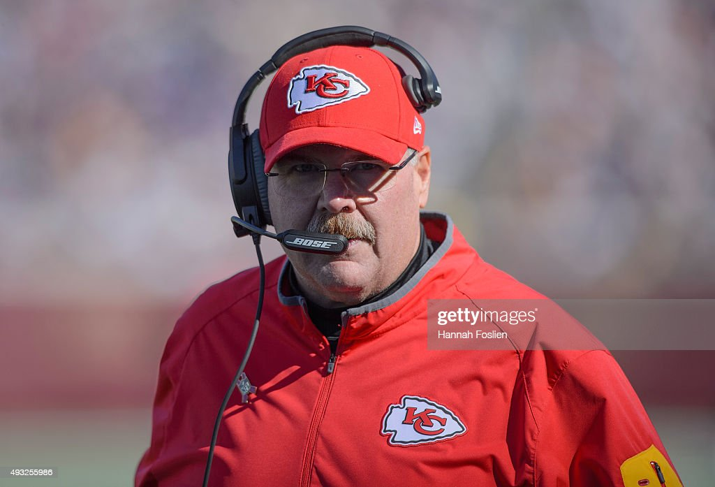Head coach Andy Reid of the Kansas City Chiefs looks on during the second quarter of the game against the Minnesota Vikings on October 18 2015 at TCF...