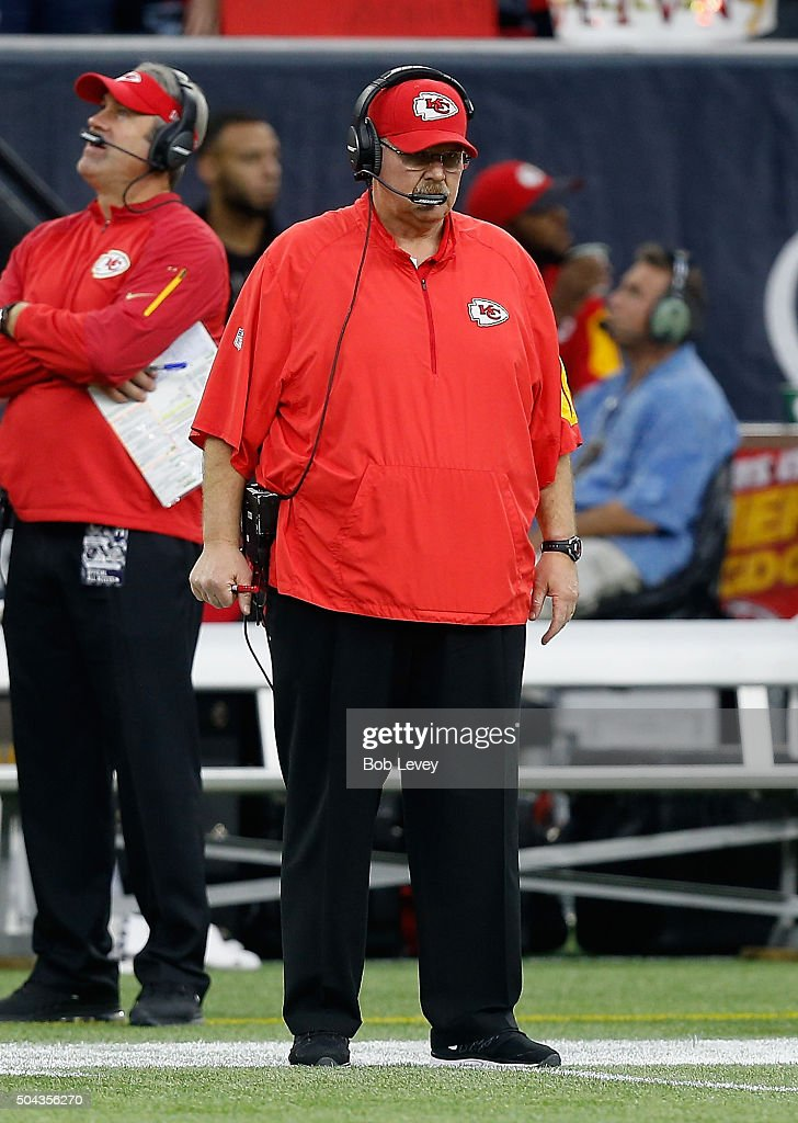 Head coach Andy Reid of the Kansas City Chiefs looks on during the AFC Wild Card game at NRG Stadium on January 9 2016 in Houston Texas