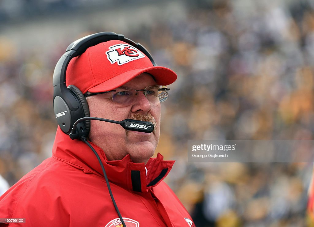Head coach Andy Reid of the Kansas City Chiefs looks on from the sideline during a game against the Pittsburgh Steelers at Heinz Field on December 21...