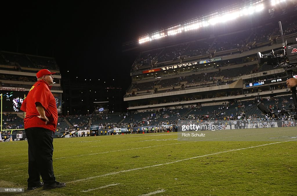 Head coach Andy Reid of the Kansas City Chiefs looks on from the sidelines during the fourth quarter in a game against his former team, the Philadelphia Eagles at Lincoln Financial Field on September 19, 2013 in Philadelphia, Pennsylvania. The Chiefs defeated the Eagles 26-16.