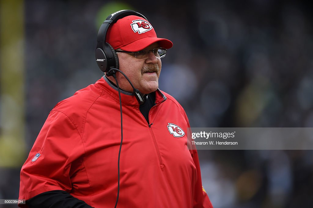 Head coach Andy Reid of the Kansas City Chiefs looks on from the sidelines against the Oakland Raiders during their NFL game at Oco Coliseum on...