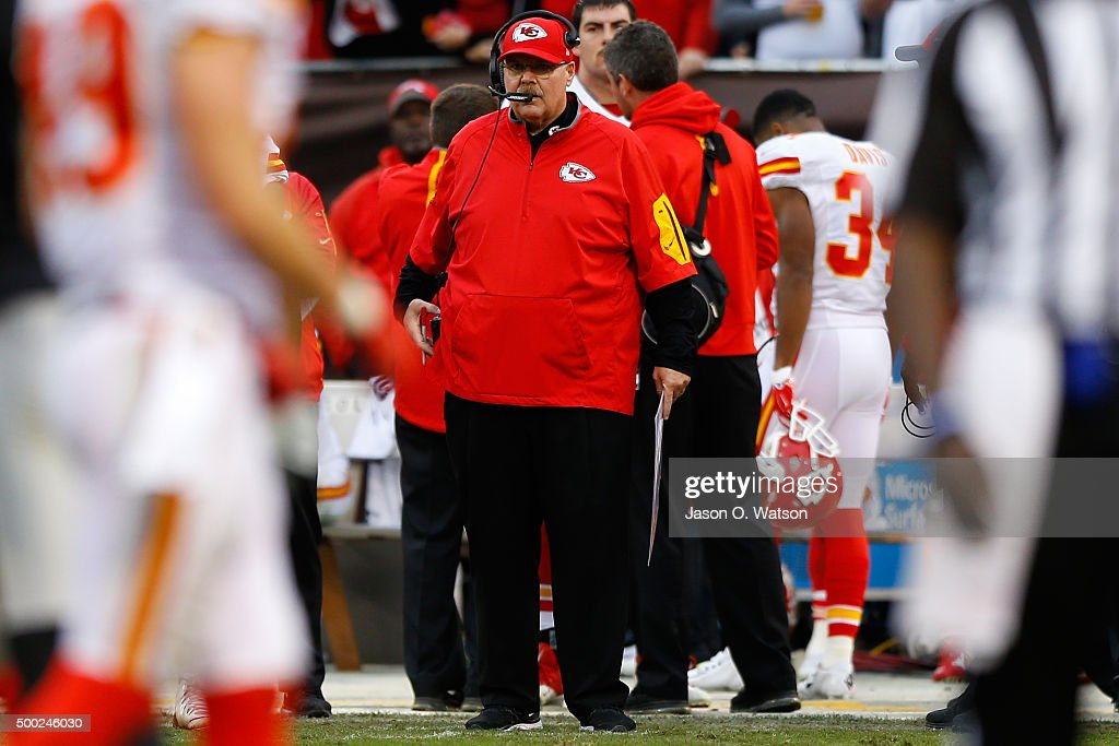 Head coach <a gi-track='captionPersonalityLinkClicked' href=/galleries/search?phrase=Andy+Reid&family=editorial&specificpeople=204475 ng-click='$event.stopPropagation()'>Andy Reid</a> of the Kansas City Chiefs looks on from the sidelines during their NFL game against the Oakland Raiders at O.co Coliseum on December 6, 2015 in Oakland, California.