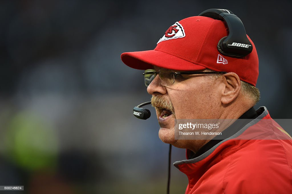 Head coach Andy Reid of the Kansas City Chiefs looks on from the sidelines during their NFL game against the Oakland Raiders at Oco Coliseum on...