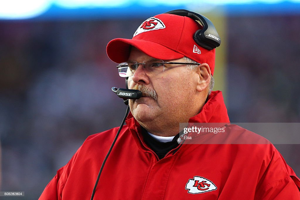 Head coach Andy Reid of the Kansas City Chiefs looks on in the first quarter against the New England Patriots during the AFC Divisional Playoff Game...