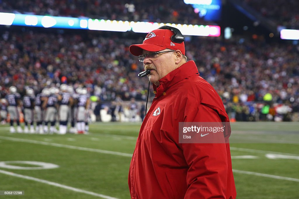 Head coach Andy Reid of the Kansas City Chiefs looks on in the game against the New England Patriots during the AFC Divisional Playoff Game at...