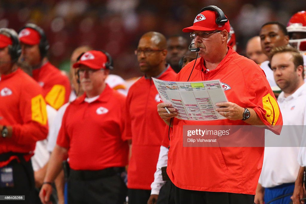 Head coach Andy Reid of the Kansas City Chiefs looks on in the second quarter during a preseason game against the St Louis Rams at the Edward Jones...