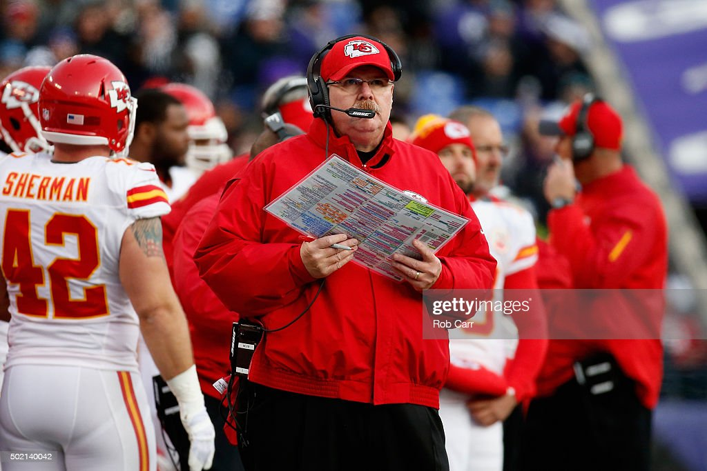 Head coach Andy Reid of the Kansas City Chiefs looks on in the second half against the Baltimore Ravens at MT Bank Stadium on December 20 2015 in...
