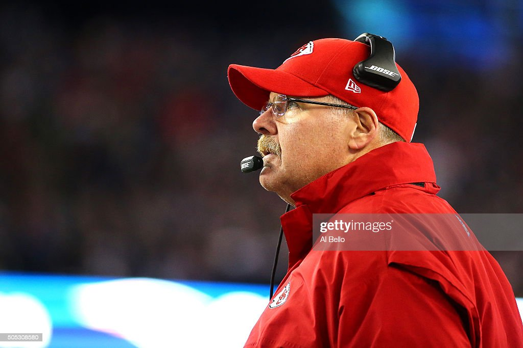 Head coach Andy Reid of the Kansas City Chiefs looks on in the second half against the New England Patriots during the AFC Divisional Playoff Game at...
