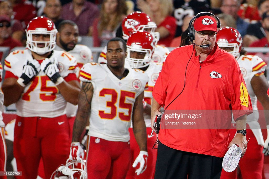 Head coach Andy Reid of the Kansas City Chiefs on the bench during the preseason NFL game against the Arizona Cardinals at the University of Phoenix...