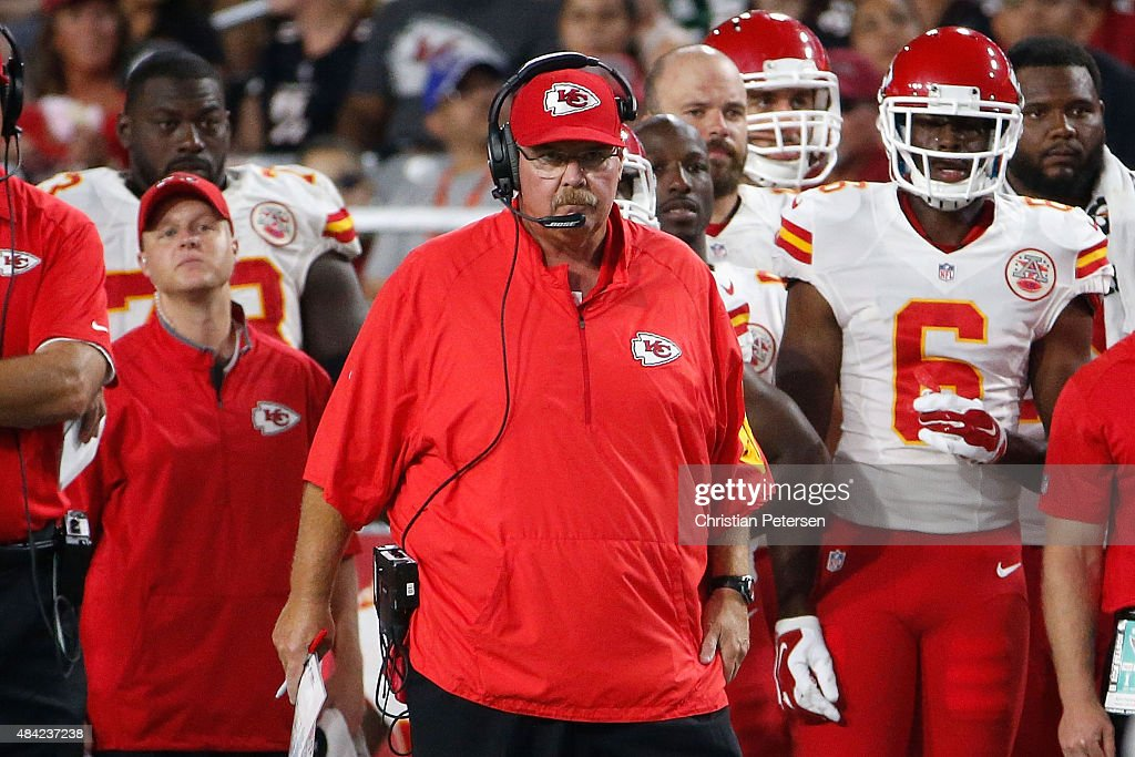 Head coach Andy Reid of the Kansas City Chiefs on the sidelines during the preseason NFL game against the Arizona Cardinals at the University of...