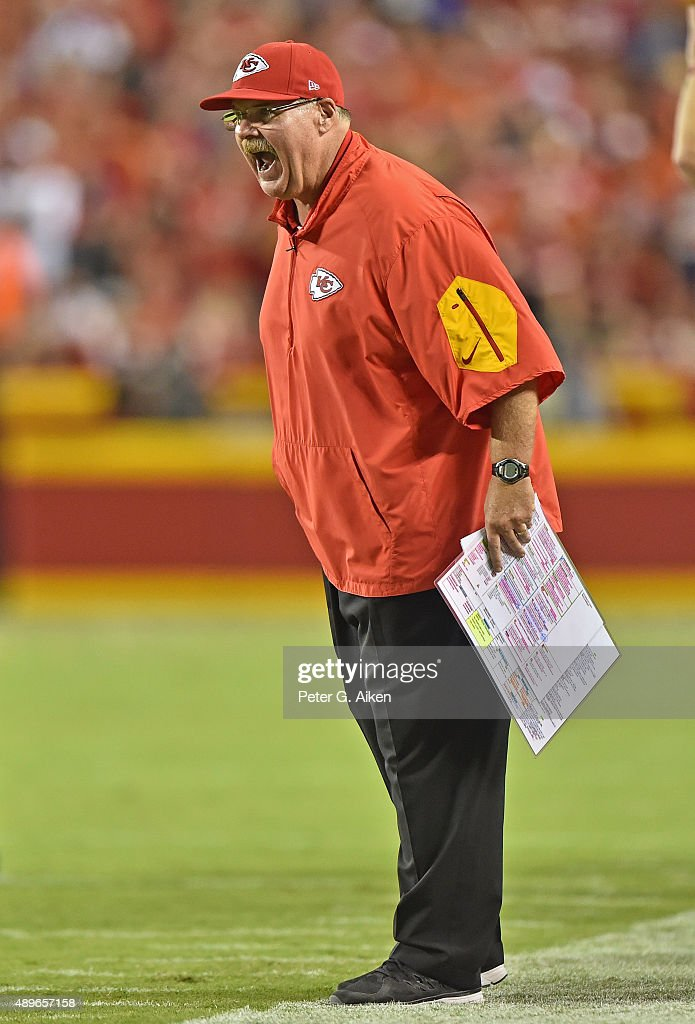 Head coach Andy Reid of the Kansas City Chiefs reacts after a play against the Denver Broncos during the first half at Arrowhead Stadium on September...