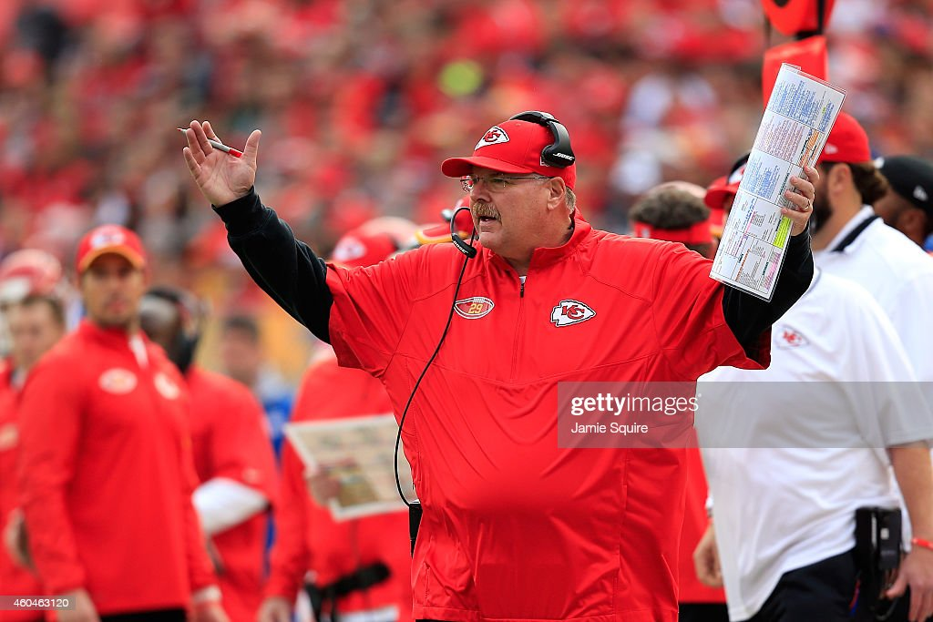 Head coach <a gi-track='captionPersonalityLinkClicked' href=/galleries/search?phrase=Andy+Reid+-+Coach&family=editorial&specificpeople=204475 ng-click='$event.stopPropagation()'>Andy Reid</a> of the Kansas City Chiefs reacts from the sidelines during the game against the Oakland Raiders at Arrowhead Stadium on December 14, 2014 in Kansas City, Missouri.