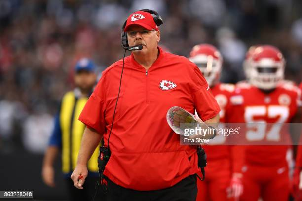 Head coach Andy Reid of the Kansas City Chiefs reacts to a play against the Oakland Raiders during their NFL game at OaklandAlameda County Coliseum...