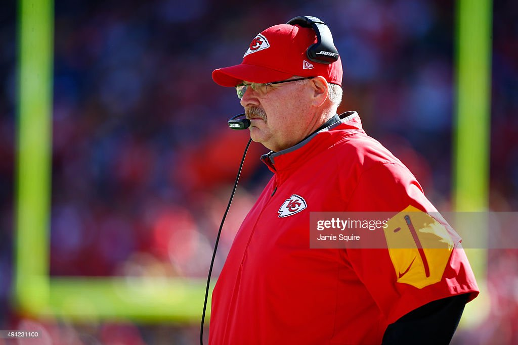 Head coach Andy Reid of the Kansas City Chiefs stands on the sidelines overlooking a play against the Pittsburgh Steelers at Arrowhead Stadium during...