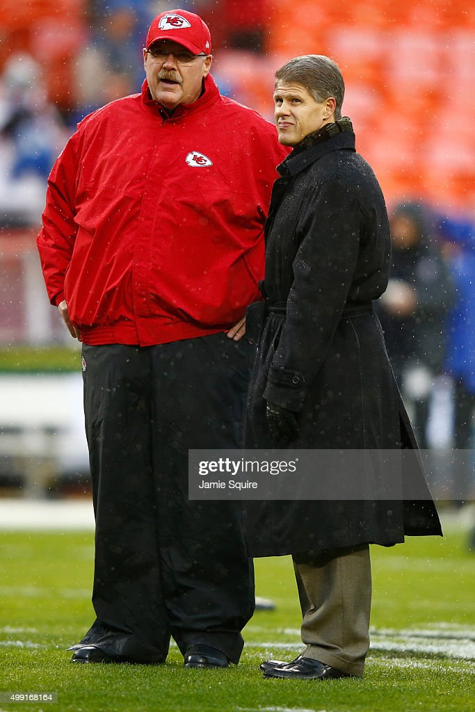 Head coach <a gi-track='captionPersonalityLinkClicked' href=/galleries/search?phrase=Andy+Reid&family=editorial&specificpeople=204475 ng-click='$event.stopPropagation()'>Andy Reid</a> of the Kansas City Chiefs talks with owner <a gi-track='captionPersonalityLinkClicked' href=/galleries/search?phrase=Clark+Hunt&family=editorial&specificpeople=2138852 ng-click='$event.stopPropagation()'>Clark Hunt</a> at Arrowhead Stadium before the game with the Buffalo Bills on November 29, 2015 in Kansas City, Missouri.