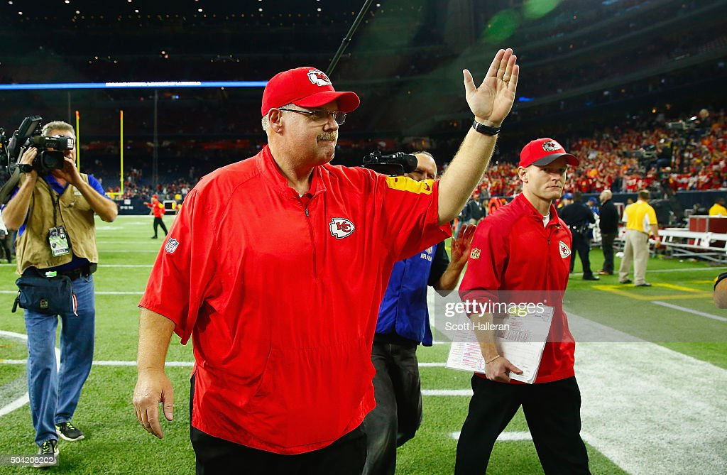 Head coach Andy Reid of the Kansas City Chiefs walks off the field after their 300 win over the Houston Texans during the AFC Wild Card Playoff game...