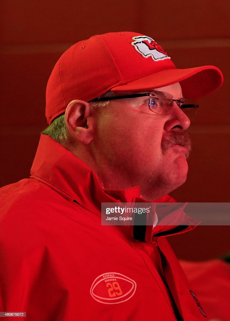 Head coach Andy Reid of the Kansas City Chiefs walks through the tunnel on his way to the field prior to the start of the game against the San Diego...