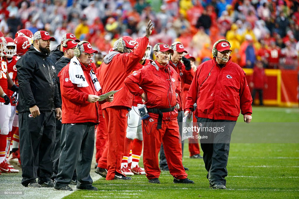 Head coach Andy Reid of the Kansas City Chiefs watches a goal line play at Arrowhead Stadium during the fourth quarter of the game agains the San...