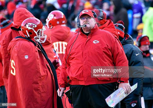 andy reid. head coach andy reid of the kansas city chiefs watches scoreboard during game against