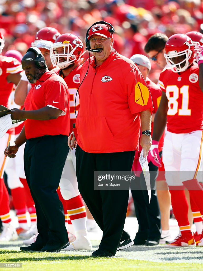Head coach Andy Reid of the Kansas City Chiefs yells from the bench during the game against the Chicago Bears at Arrowhead Stadium on October 11 2015...