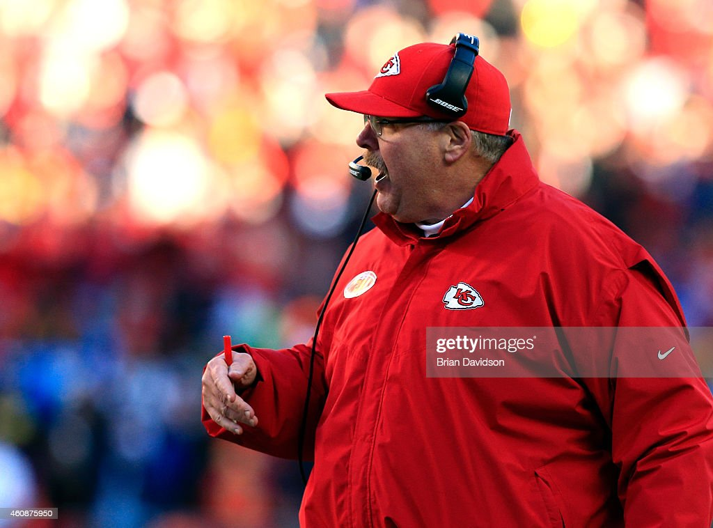Head coach Andy Reid of the Kansas City Chiefs yells from the sidelines during the game against the San Diego Chargers at Arrowhead Stadium on...