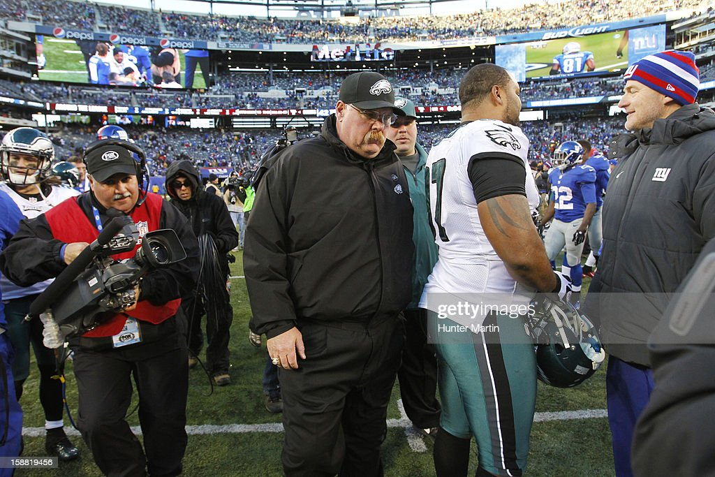 Head coach Andy Reid of the Philadelphia Eagles leaves the field after a game against the New York Giants on December 30, 2012 at MetLife Stadium in East Rutherford, New Jersey. The Giants won 42-7.
