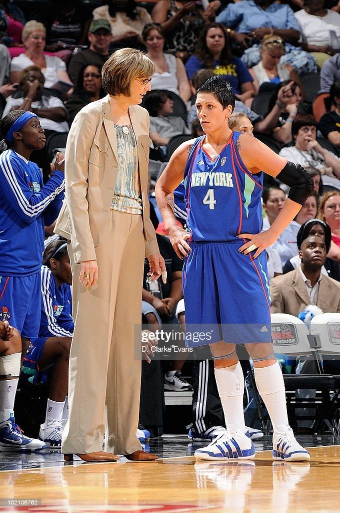 Head coach Anne Donovan and Janel Mccarville of the New York Liberty talk during the game against the San Antonio Stars on May 28 2010 at the ATT...