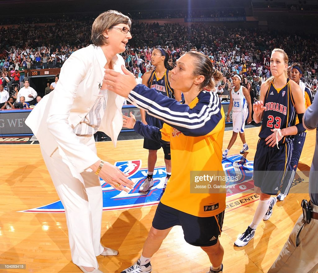Head Coach Anne Donovan of the New York Liberty greets Indiana Fever players during Game Three of the 2010 WNBA Eastern Conference Semifinals on...