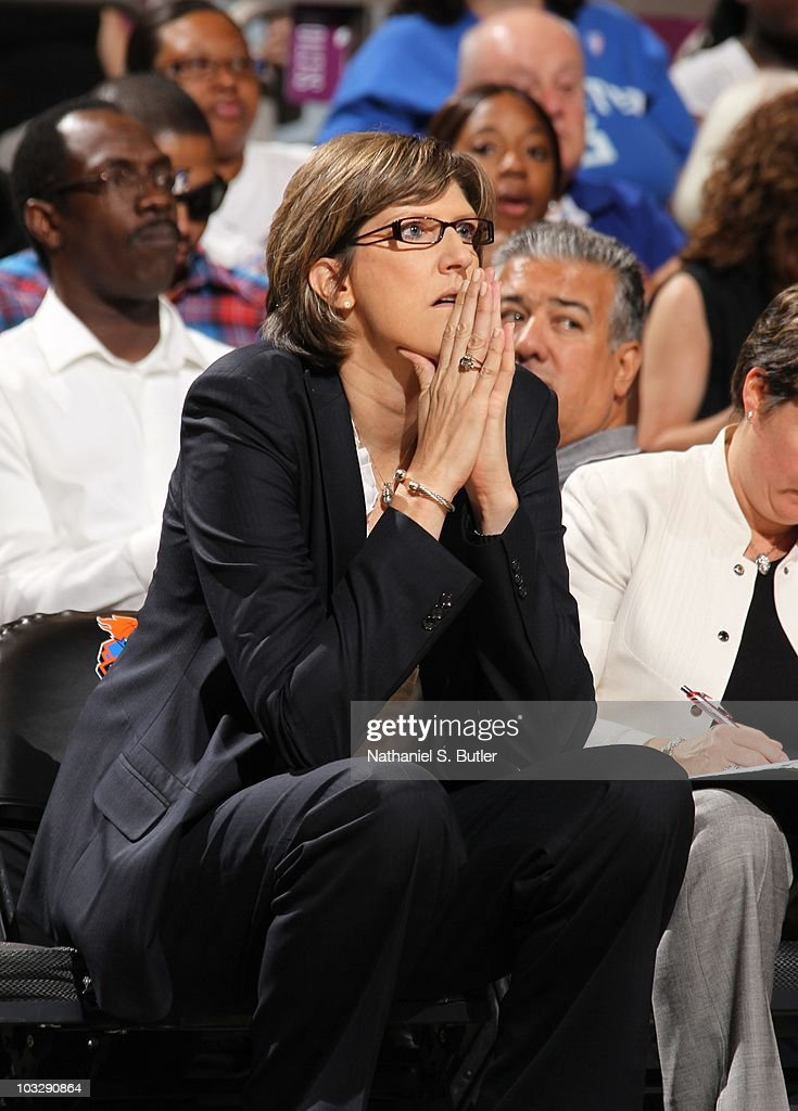 Head coach Anne Donovan of the New York Liberty looks on during a WNBA game against the Los Angeles Sparks on July 30 2010 at Madison Square Garden...