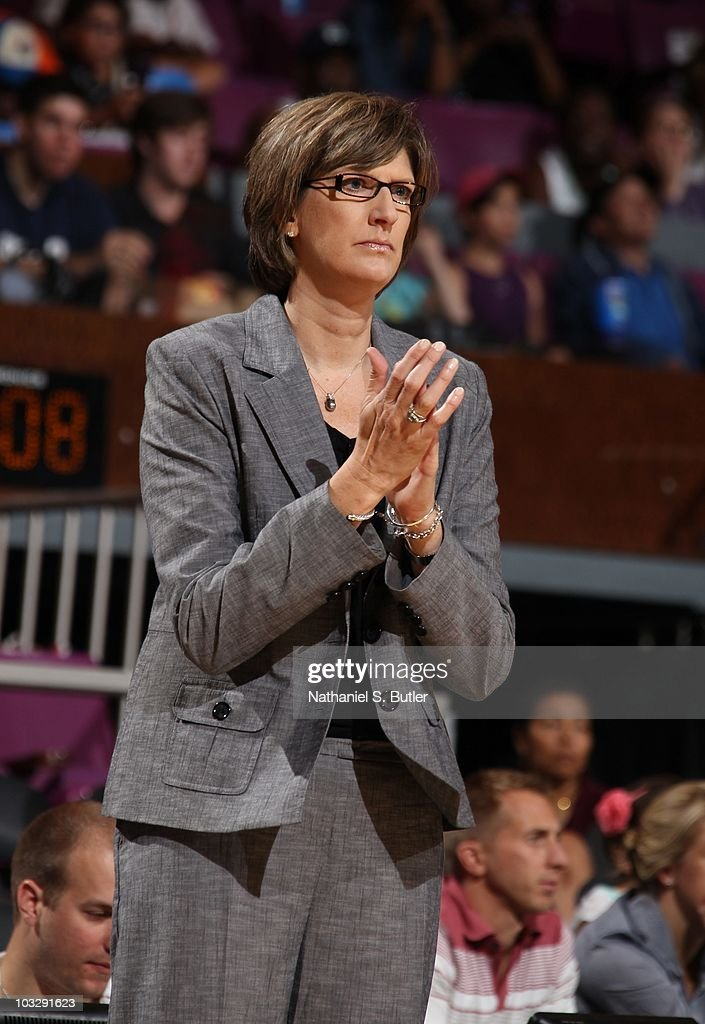 Head coach Anne Donovan of the New York Liberty looks on during a WNBA game against the Connecticut Sun on August 1 2010 at Madison Square Garden in...