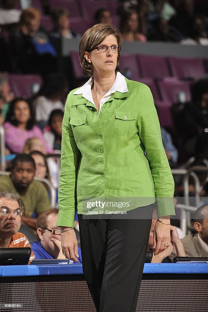 Head coach Anne Donovan of the New York Liberty looks on from the sideline during the game against the Chicago Sky on August 14 2009 at Madison...
