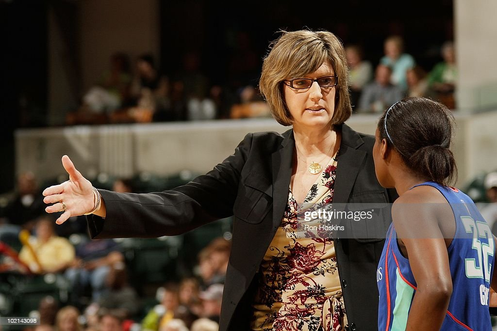 Head Coach Anne Donovan of the New York Liberty talks with Kalana Greene during a game against the Indiana Fever at Conseco Fieldhouse on June 5 2010...