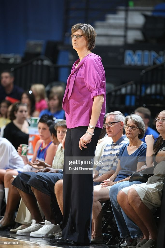 Head coach Anne Donovan of the New York Liberty watches her team play the Minnesota Lynx on August 8 2010 at the Target Center in Minneapolis...
