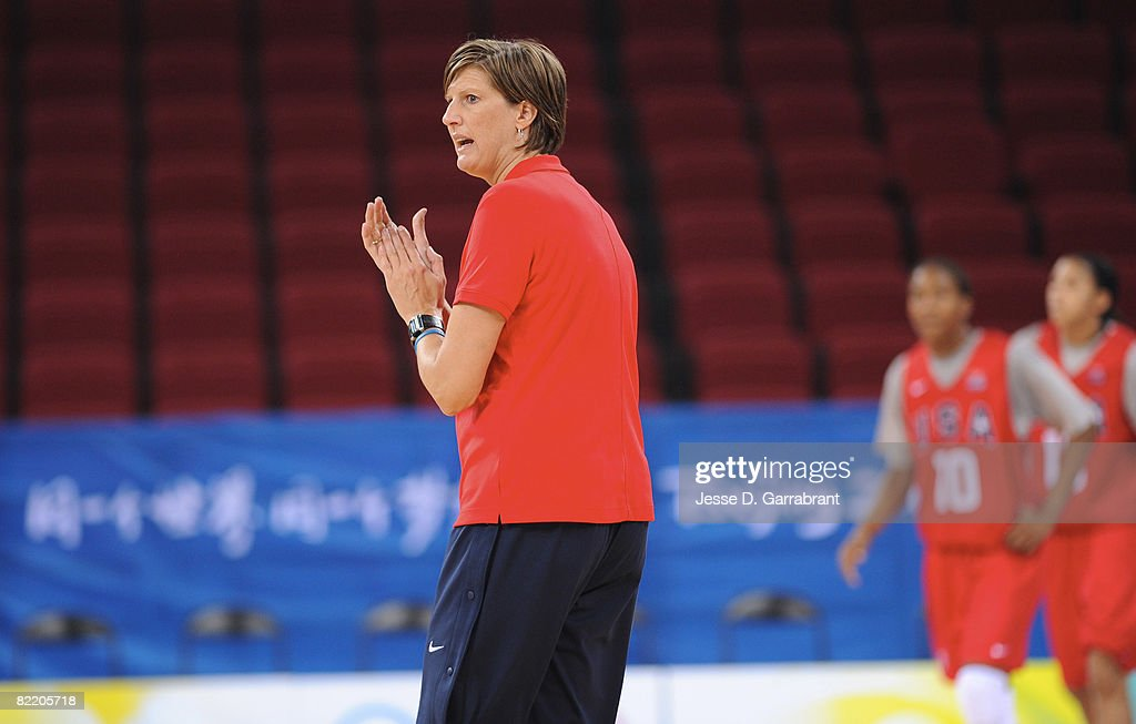 Head Coach Anne Donovan of the US Women's Senior National Team leads practice prior to the 2008 Beijing Summer Olympics on August 7 2008 at Wukesong...