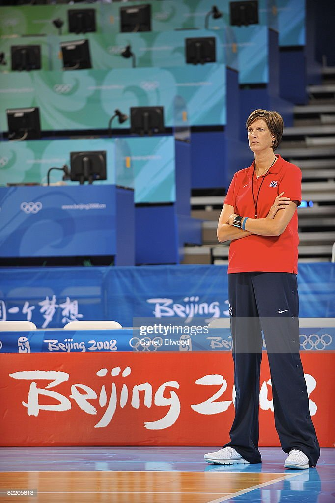 Head Coach Anne Donovan of the US Women's Senior National Team watches practice at the 2008 Beijing Summer Olympics on August 7 2008 at the Wukesong...