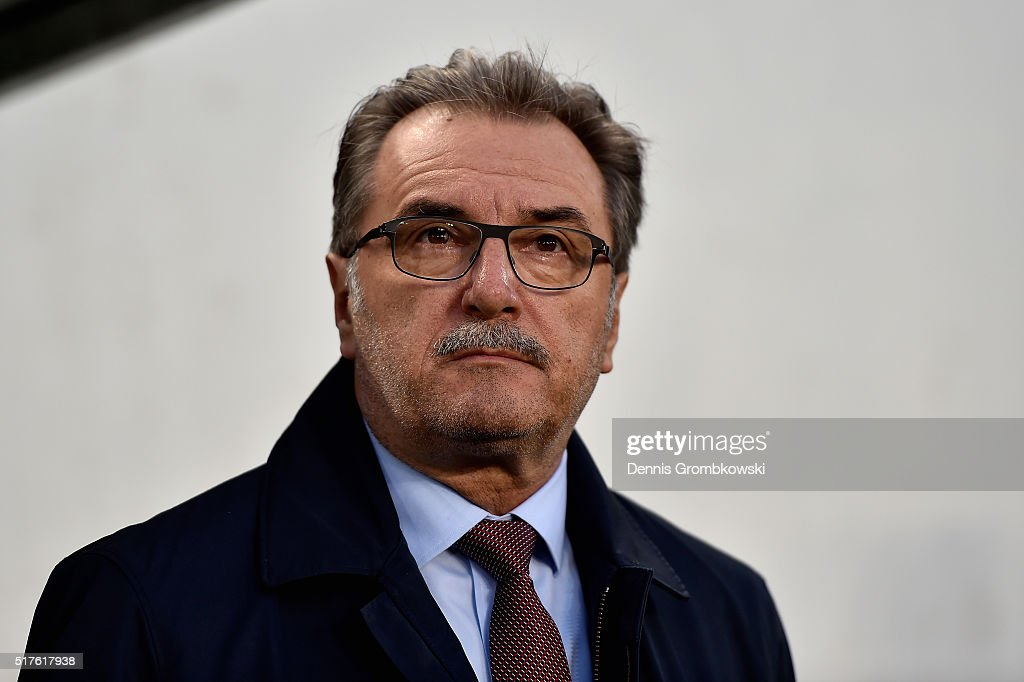 Head coach Ante Cacic of Croatia looks on prior to kickoff during the International Friendly match between Hungary and Croatia at Groupama Arena on March 26, 2016 in Budapest, Hungary.