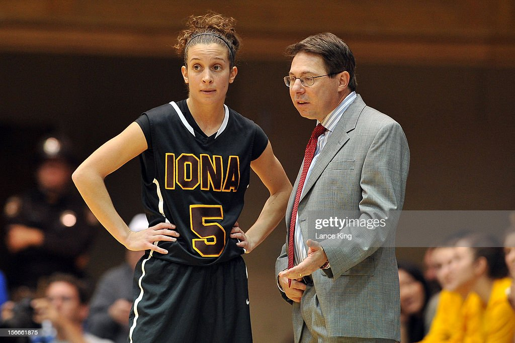 Head Coach Anthony Bozzella of the Iona Gaels talk to Haley D'Angelo #5 during a game against the Duke Blue Devils at Cameron Indoor Stadium on November 18, 2012 in Durham, North Carolina. Duke defeated Iona 100-31.