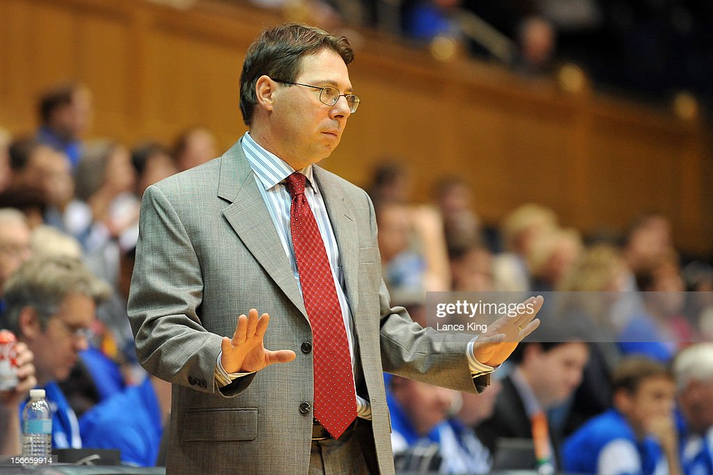 Head Coach Anthony Bozzella of the Iona Gaels tries to calm his team against the Duke Blue Devils at Cameron Indoor Stadium on November 18, 2012 in Durham, North Carolina.