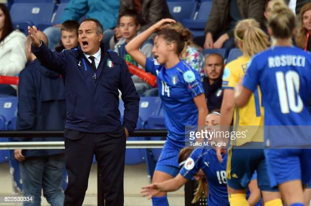 Head coach Antonio Cabrini of Italy in action during the UEFA Women's Euro 2017 Group B match between Sweden and Italy at Stadion De Vijverberg on...