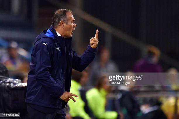 Head coach Antonio Cabrini of Italy issues instructions during the UEFA Women's Euro 2017 Group B match between Sweden and Italy at Stadion De...