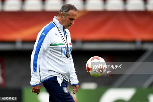Head coach Antonio Cabrini of Italy leads a training session during the UEFA Women's EURO 2017 at Sparta Stadion Het Kasteel on July 16 2017 in...