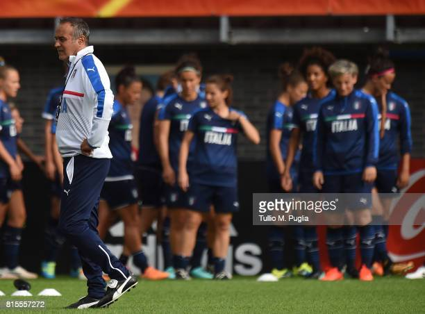 Head coach Antonio Cabrini of Italy leads a training session on the eve of their UEFA Women's 2017 Group B match against Russia at Sparta Stadion Het...