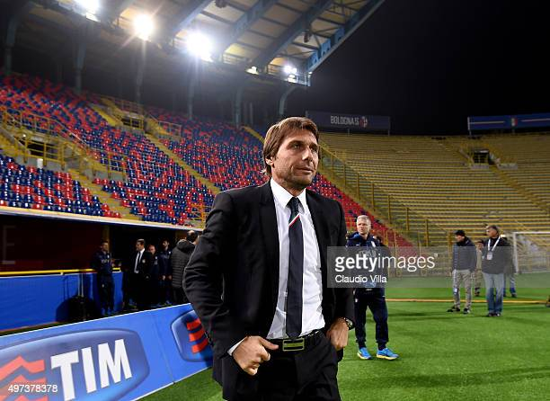 Head coach Antonio Conte looks on prior to the Italy training session at Stadio Renato Dall'Ara on November 16 2015 in Bologna Italy