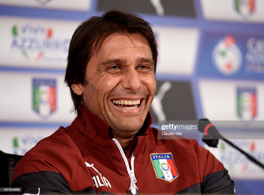Head coach <a gi-track='captionPersonalityLinkClicked' href=/galleries/search?phrase=Antonio+Conte&family=editorial&specificpeople=2379002 ng-click='$event.stopPropagation()'>Antonio Conte</a> of Italy during Press Conference at Coverciano on March 23, 2015 in Florence, Italy.