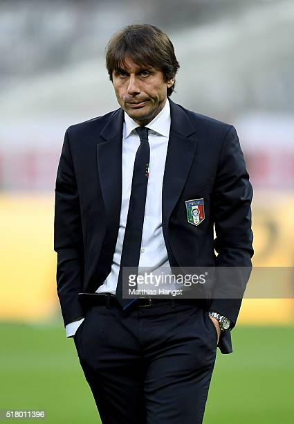Head coach Antonio Conte of Italy is seen prior to the International Friendly match between Germany and Italy at Allianz Arena on March 29 2016 in...