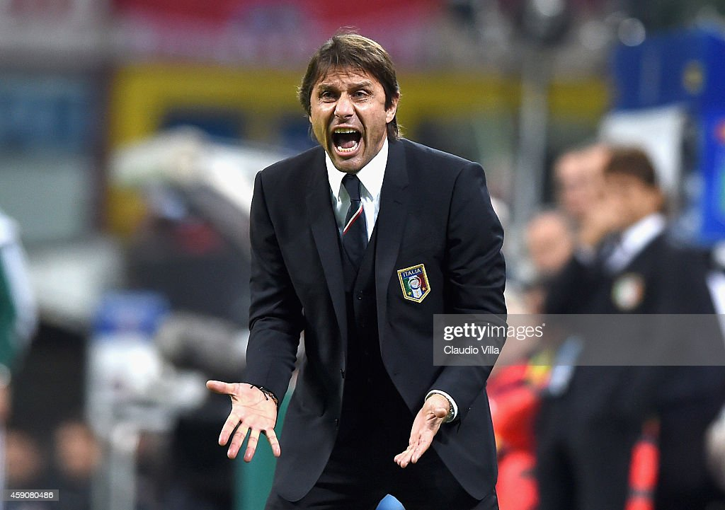 Head coach <a gi-track='captionPersonalityLinkClicked' href=/galleries/search?phrase=Antonio+Conte&family=editorial&specificpeople=2379002 ng-click='$event.stopPropagation()'>Antonio Conte</a> of Italy reacts during the EURO 2016 Group H Qualifier match between Italy and Croatia at Stadio Giuseppe Meazza on November 16, 2014 in Milan, Italy.