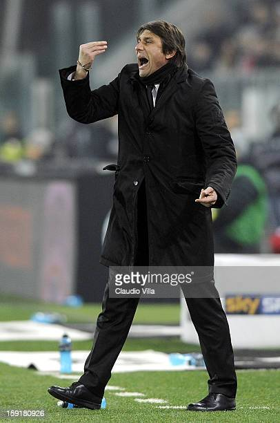 Head coach Antonio Conte of Juventus FC during the TIM cup match between Juventus FC and AC Milan at Juventus Arena on January 9 2013 in Turin Italy
